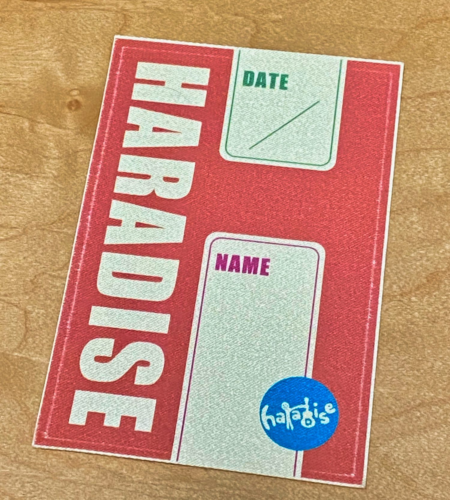 「ハラダイス」バックステージパス布製ステッカー